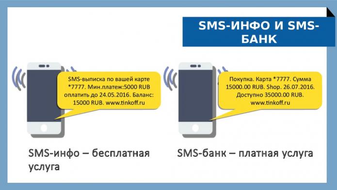 Отличия услуг SMS-инфо и SMS-банк