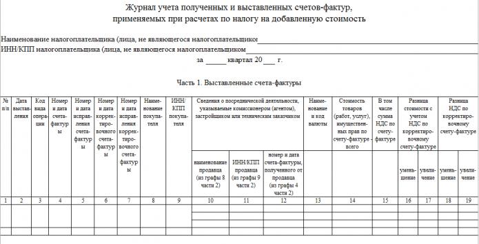 Журнал учёт счетов-фактур (шаблон)