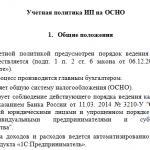 Общие положения учётной политики ИП на ОСНО (пример)