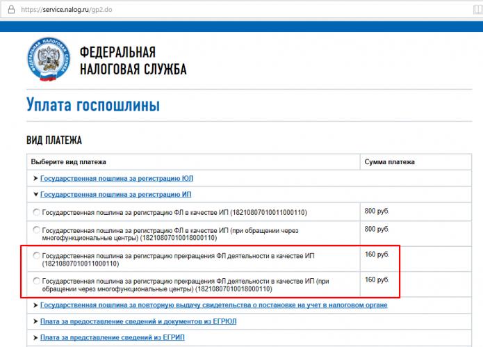 Уплата госпошлины с портала ФНС РФ (страница и виды платежа)