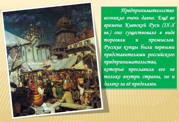 Иллюстрация и справка о предпринимательстве на Руси 9–10 века