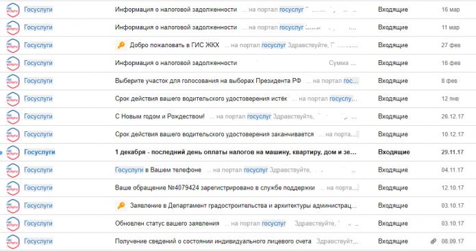 Скриншот электронной почты гражданина с сообщениями от Госуслуг