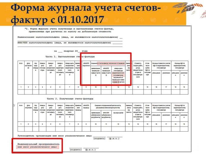 Форма журнала учёта счетов-фактур для неплательщиков НДС
