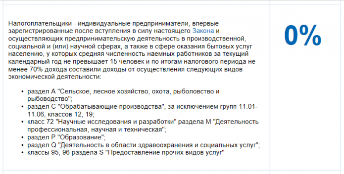Страница с портала налог.ру с описанием условий для налоговых каникул со ставкой 0%