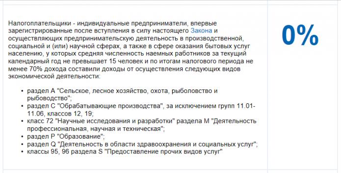 Скриншот сайта ФНС: условия для налоговых каникул