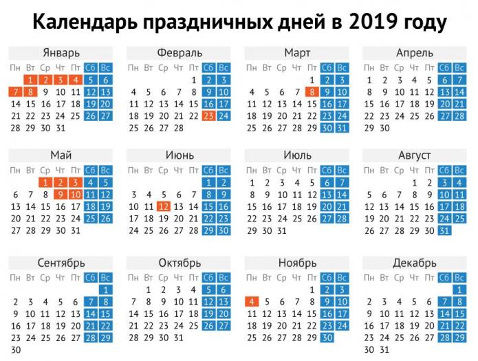 Производственный календарь на 2019 год