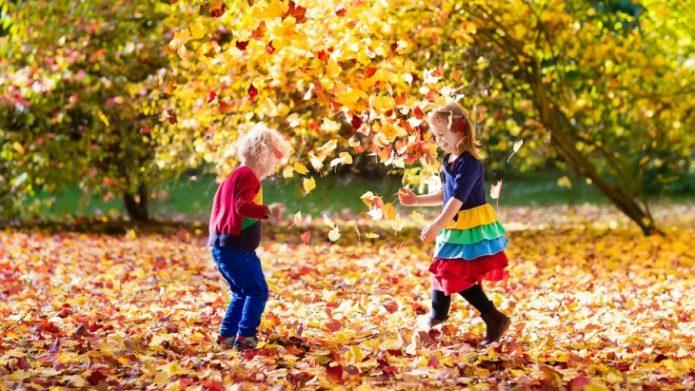 Дети играются в осенней листве