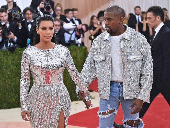 Пара Кардашьян и Уэст на красной ковровой дорожке